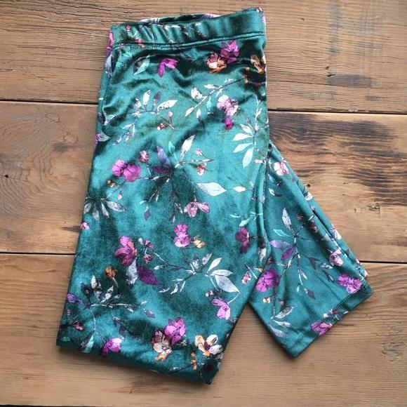Zara Other - Zara Velvet Flora Patterned Leggings
